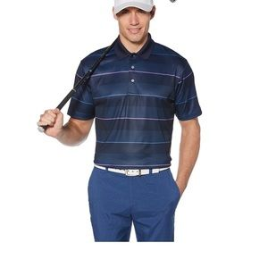 Grand Slam Driflow Classic Fit Striped Golf Shirt